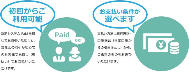 初回からご利用可能 お支払い条件が選べます