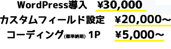 WordPress(ワードプレス)導入 ¥20,000~カスタムフィールド設定 ¥20,000~コーディング(標準納期) 1P  ¥4,500~